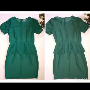 NWOT ASOS Sheer Green Peplum Dress 4